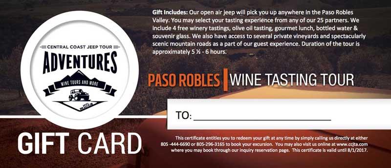 Wine Tour Gift Certificate Paso Robles, CA